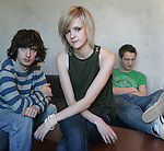 """The subways are a teenage rock trio from the UK that are getting a whole lotta buzz, photographed in Los Angeles, November 29, 2005. Billy Lunn (guitars/vocals),right, Mary-Charlotte Cooper (bass/vocals),center, Josh Morgan (drums),left, their debut album """"Young For Eternity"""", was released on July 4th 2005."""
