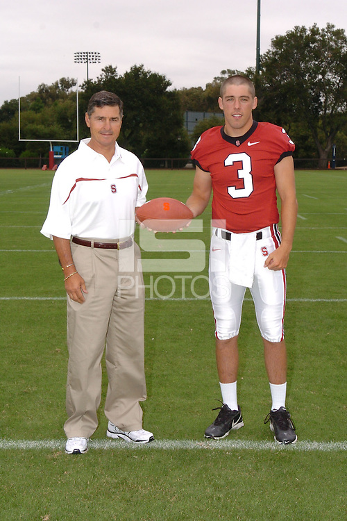 7 August 2006: Stanford Cardinal head coach Walt Harris and Garrett Moore during Stanford Football's Team Photo Day at Stanford Football's Practice Field in Stanford, CA.