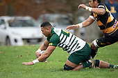 Villiami Talalani dives over to score an early try for Manurewa. Counties Manukau Club Rugby game between Manurewa and Bombay played at Mountfort Park Manurewa on Saturday June 2nd 2018. Bombay won the game 27 - 20 after leading 20 - 5 at halftime. <br /> Manurewa Kidd Contracting 20 - Caleb Fa'alili, William Raea, Willie Tuala, Viliami Taulani tries.<br /> Bombay 27 - Liam Daniela, Sepuloni Taufa, Talaga Alofipo tries, Ki Anufe 3 conversions, Ki Anufe 2 penalties.<br /> Photo by Richard Spranger.