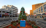 WATERBURY, CT-121917JS09---An anonymous person has placed a Christmas tree on the traffic island linking Bank Street and South Main Street in Waterbury. <br /> Jim Shannon Republican-American