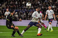 England Under 21's forward Eddie Nketiah (9) challenges for the ball during the UEFA Euro U21 Qualifying match between England U21 & Kosovo U21 at KCOM Craven Park, Hull, England on 9 September 2019. Photo by Stephen Buckley / PRiME Media Images.