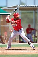 GCL Cardinals third baseman Starlin Balbuena (46) at bat during the second game of a doubleheader against the GCL Marlins on August 13, 2016 at Roger Dean Complex in Jupiter, Florida.  GCL Cardinals defeated GCL Marlins 2-0.  (Mike Janes/Four Seam Images)