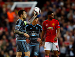 Hugo Mallo of Celta Vigo asks for a new ball after the match ball burst during the Europa League Semi Final 2nd Leg match at Old Trafford Stadium, Manchester. Picture date: May 11th 2017. Pic credit should read: Simon Bellis/Sportimage