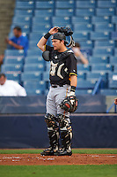 Bradenton Marauders catcher Taylor Gushue (17) during a game against the Tampa Yankees on April 11, 2016 at George M. Steinbrenner Field in Tampa, Florida.  Tampa defeated Bradenton 5-2.  (Mike Janes/Four Seam Images)