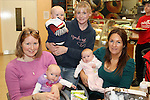 Ciara and Aoibhe Lalor, Edel and Madeline Myers and Olga and Alex O'Brien at the Breakfast Morning with Mumstown.ie in Conjunction with ISPCC, Childline and Cheerios...Picture Jenny Matthews/Newsfile.ie