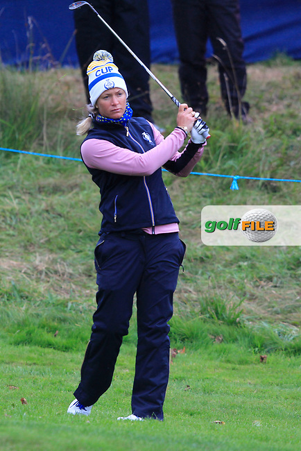 Suzann Pettersen of Team Europe on the 17th during Day 2 Fourball at the Solheim Cup 2019, Gleneagles Golf CLub, Auchterarder, Perthshire, Scotland. 14/09/2019.<br /> Picture Thos Caffrey / Golffile.ie<br /> <br /> All photo usage must carry mandatory copyright credit (© Golffile | Thos Caffrey)