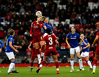 17th November 2019; Anfield, Liverpool, Merseyside, England; Womens Super League Footballl, Liverpool Women versus Everton; Rhiannon Roberts of Liverpool FC Women challenges Lucy Graham of Everton for a header - Editorial Use