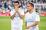 Real Madrid's Dani Ceballos and Lucas Vazquez during La Liga match between Real Madrid and Valencia CF at Santiago Bernabeu Stadium in Madrid, Spain August 27, 2017. (ALTERPHOTOS/Borja B.Hojas)
