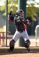 Cleveland Indians catcher Gianpaul Gonzalez (6) during an Instructional League game against the Seattle Mariners on October 1, 2014 at Goodyear Training Complex in Goodyear, Arizona.  (Mike Janes/Four Seam Images)