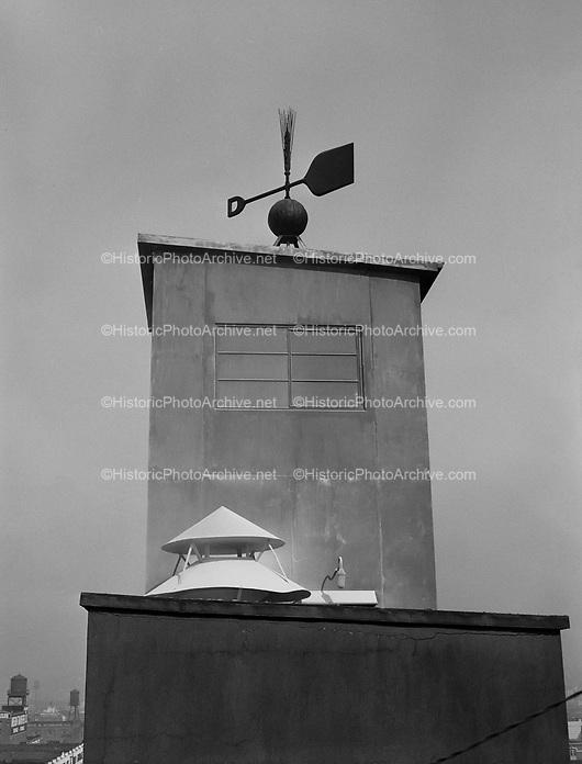 9969-511009-01. Blitz Weinhard weathervane with barley and malt shovel design. Erected on Malt House in 1892. September 9, 1951