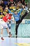 Im Tor Rhein Neckar Loewe Andreas Palicka (Nr.12) mit einer Parade gegen BHCs Kristian Nippes (Nr.13) - beim Bundesliga Spiel der Rhein Neckar L&ouml;wen gegen den BHC am 09.02.2019<br /> <br /> Foto &copy; PIX-Sportfotos *** Foto ist honorarpflichtig! *** Auf Anfrage in hoeherer Qualitaet/Aufloesung. Belegexemplar erbeten. Veroeffentlichung ausschliesslich fuer journalistisch-publizistische Zwecke. For editorial use only.