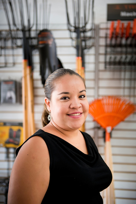 Elizabeth Lopez Sarabia. Hardware store owners in Culiacan, Sinaloa,  Mexico