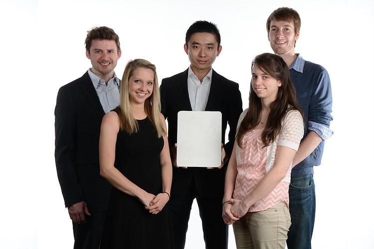 Student innovators Ben Weibel, Sicong Li, Kevin Janowiecki, Erica Staeuble and Taffie Coler.