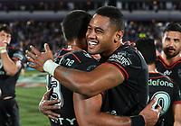 David Fusitu'a hugs Adam Blair.<br /> NRL Premiership rugby league. Vodafone Warriors v St George Illawarra. Mt Smart Stadium, Auckland, New Zealand. Friday 20 April 2018. &copy; Copyright photo: Andrew Cornaga / www.Photosport.nz