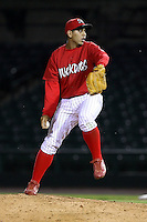 June 20th 2008:  Pitcher Rigoberto Lugo (23) of the Batavia Muckdogs, Class-A affiliate of the St. Louis Cardinals, during a game at Frontier Field in Rochester, NY - home of the Rochester Red Wings.  Photo by:  Mike Janes/Four Seam Images