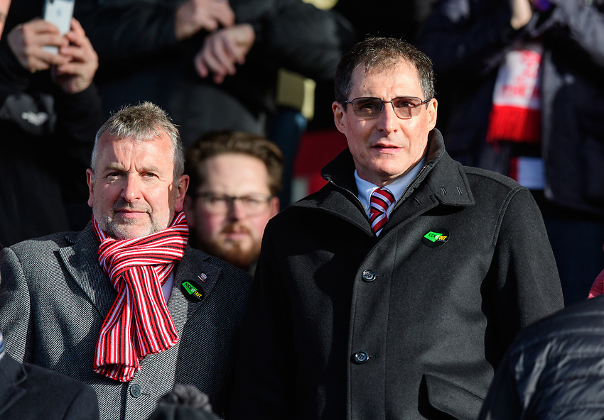 Lincoln City's vice-chairman Roger Bates, left, and Lincoln City chairman Clive Nates<br /> <br /> Photographer Chris Vaughan/CameraSport<br /> <br /> The EFL Sky Bet League Two - Lincoln City v Northampton Town - Saturday 9th February 2019 - Sincil Bank - Lincoln<br /> <br /> World Copyright © 2019 CameraSport. All rights reserved. 43 Linden Ave. Countesthorpe. Leicester. England. LE8 5PG - Tel: +44 (0) 116 277 4147 - admin@camerasport.com - www.camerasport.com