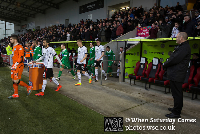 St Mirren 4 The New Saints 1, 19/02/2017. Paisley 2021 Stadium, Scottish Challenge Cup. The teams walking to the pitch at the Paisley2021 Stadium before Scottish Championship side St Mirren (in white) played Welsh champions The New Saints in the semi-final of the Scottish Challenge Cup for the right to meet Dundee United in the final. The competition was expanded for the 2016-17 season to include four clubs from Wales and Northern Ireland as well as Scottish Premier under-20 teams. Despite trailing at half-time, St Mirren won the match 4-1 watched by a crowd of 2044, including 75 away fans. Photo by Colin McPherson.
