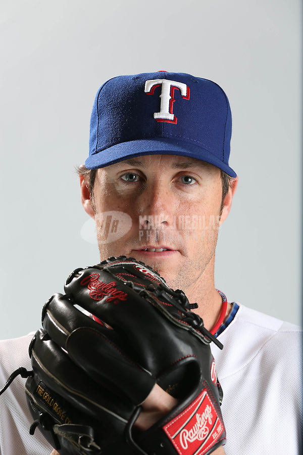 Feb. 20, 2013; Surprise, AZ, USA: Texas Rangers pitcher Joe Nathan poses for a portrait during photo day at Surprise Stadium. Mandatory Credit: Mark J. Rebilas-