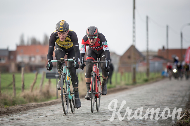 Final breakaway with eventual winner & follow-up Jos Van Emden (NED/Team Lotto NL-Jumbo) & Silvan Dillier (SUI/BMC Racing Team)<br /> <br /> 1st Dwars door West-Vlaanderen 2017 (1.1)