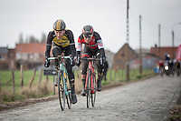 Final breakaway with eventual winner &amp; follow-up Jos Van Emden (NED/Team Lotto NL-Jumbo) &amp; Silvan Dillier (SUI/BMC Racing Team)<br /> <br /> 1st Dwars door West-Vlaanderen 2017 (1.1)