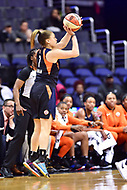 Washington, DC - June 3, 2018: Connecticut Sun guard Rachel Banham (1) shoots a three pointer during game between the Washington Mystics and Connecticut Sun at the Capital One Arena in Washington, DC. (Photo by Phil Peters/Media Images International)