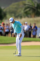 Dylan Frittelli (RSA) reacts on the 18th hole during the final round of the Afrasia Bank Mauritius Open played at Heritage Golf Club, Domaine Bel Ombre, Mauritius. 03/12/2017.<br /> Picture: Golffile | Phil Inglis<br /> <br /> <br /> All photo usage must carry mandatory copyright credit (&copy; Golffile | Phil Inglis)