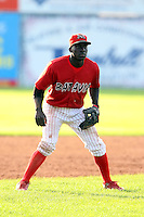 August 7 2008:  Third baseman Jermaine Curtis of the Batavia Muckdogs, Class-A affiliate of the St. Louis Cardinals, during a game at Dwyer Stadium in Batavia, NY.  Photo by:  Mike Janes/Four Seam Images
