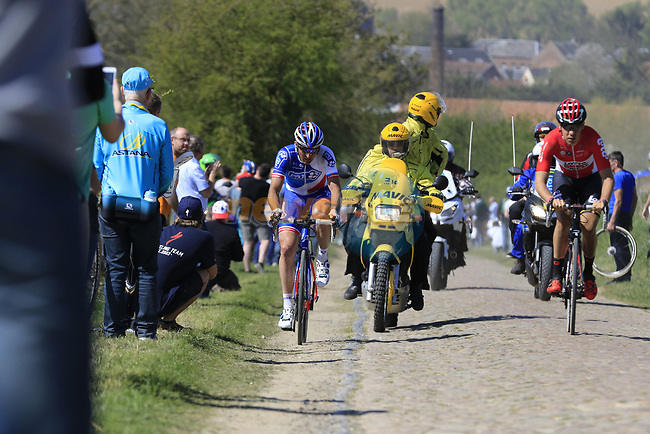 The breakaway group Jelle Wallays (BEL) Lotto-Soudal and Mickael Delage (FRA) FDJ on pave sector 25 Briastre a Solesmes during the 115th edition of the Paris-Roubaix 2017 race running 257km Compiegne to Roubaix, France. 9th April 2017.<br /> Picture: Eoin Clarke   Cyclefile<br /> <br /> <br /> All photos usage must carry mandatory copyright credit (&copy; Cyclefile   Eoin Clarke)