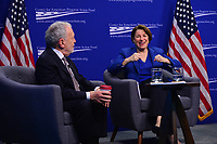 Washington, DC - March 5, 2019: U.S. Senator Amy Klobuchar participates in a discussion about the affects of economic power with former U.S. Labor Secretary Robert Reich at the Center for American Progress in Washington, D.C. March 5, 2019.  (Photo by Don Baxter/Media Images International)