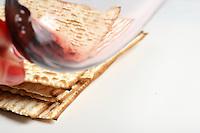 Jewish passover matzoh and wine