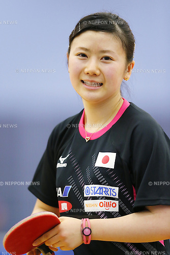 Ai Fukuhara (JPN), APRIL 22, 2015 - Table Tennis : Japan national team training session for 2015 World Table Tennis Championships in Tokyo at Ajinomoto National Training Center, Tokyo, Japan. (Photo by Yusuke NakanishiAFLO SPORT)