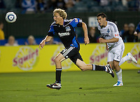 Steven Lenhart of Earthquakes in action during the game against the WhiteCaps at Buck Shaw Stadium in Santa Clara, California on July 20th, 2011.  Earthquakes and WhiteCaps are tied 2-2 at the end of the game.