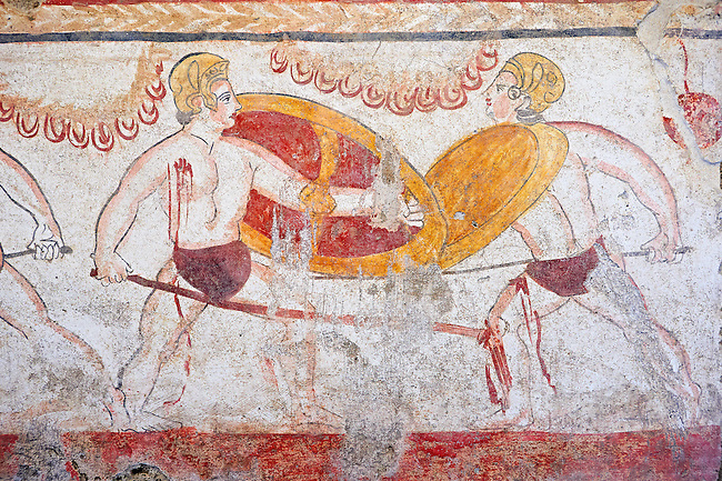Lucanian fresco tomb painting of 2 warriors fighting, Paestrum, Andriuolo. 3rd Century  BC