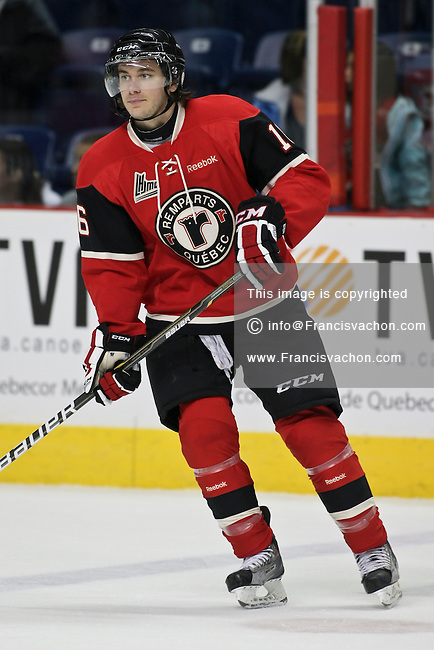 QMJHL (LHJMQ) hockey profile photo on Quebec Remparts Mathieu Lavallee September 16, 2011 at the Colisee Pepsi in Quebec city.