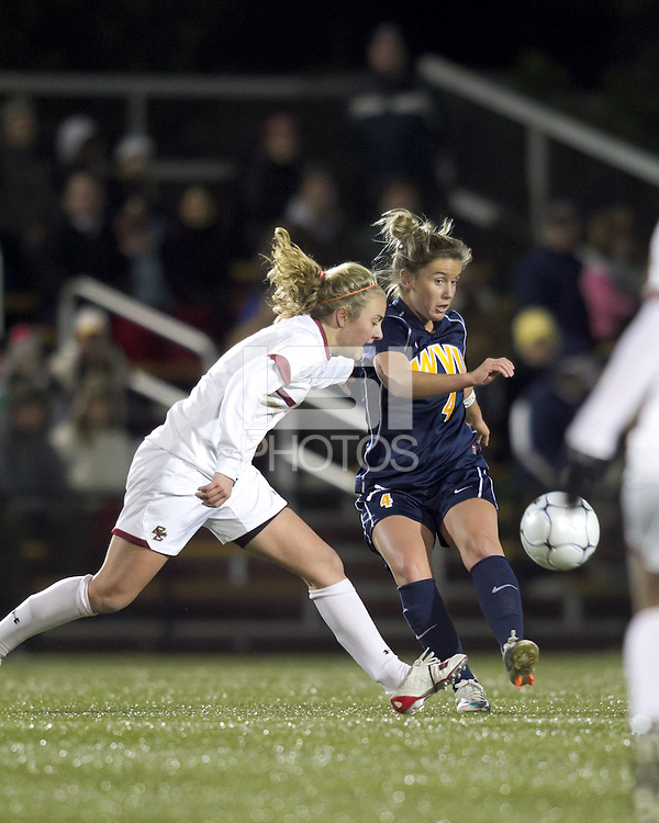 "West Virginia midfielder Bri Rodriguez (4) passes the ball as Boston College midfielder Kate McCarthy (21) defends. Boston College defeated West Virginia, 4-0, in NCAA tournament ""Sweet 16"" match at Newton Soccer Field, Newton, MA."