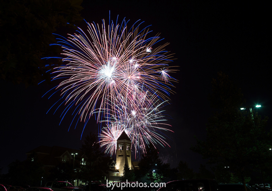 1307-08 165<br /> <br /> 1307-08 GCS: Fourth of July Fireworks over the Hinckley Center (HC).<br /> <br /> Independence Day.<br /> <br /> July 4, 2013<br /> <br /> Photo by Bella Torgerson/BYU<br /> <br /> &copy; BYU PHOTO 2013<br /> All Rights Reserved<br /> photo@byu.edu  (801)422-7322