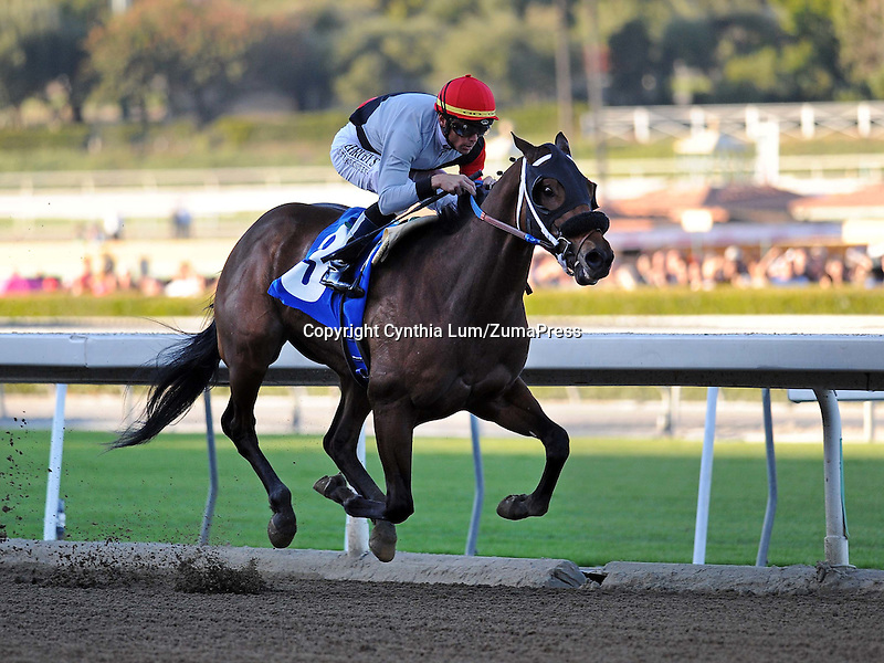 December 26, 2011. Got Even, ridden by Garrett Gomez, winning the Californiia Breeders' Champion Stakes at Santa Anita Park, Arcadia, CA