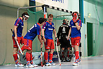 Mannheim, Germany, January 10: During the 1. Bundesliga Herren Hallensaison 2014/15 Sued  hockey match between Mannheimer HC (blue) and Muenchner SC (white) on January 10, 2015 at Irma-Roechling-Halle in Mannheim, Germany. Final score 8-8 (3-5). (Photo by Dirk Markgraf / www.265-images.com) *** Local caption ***