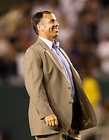 LA Galaxy head coach Bruce Arena is all smiles after his victory. The LA Galaxy defeated Chivas USA 1-0 to win the final edition of the 2009 SuperClásico at Home Depot Center stadium in Carson, California on Saturday, August 29, 2009...