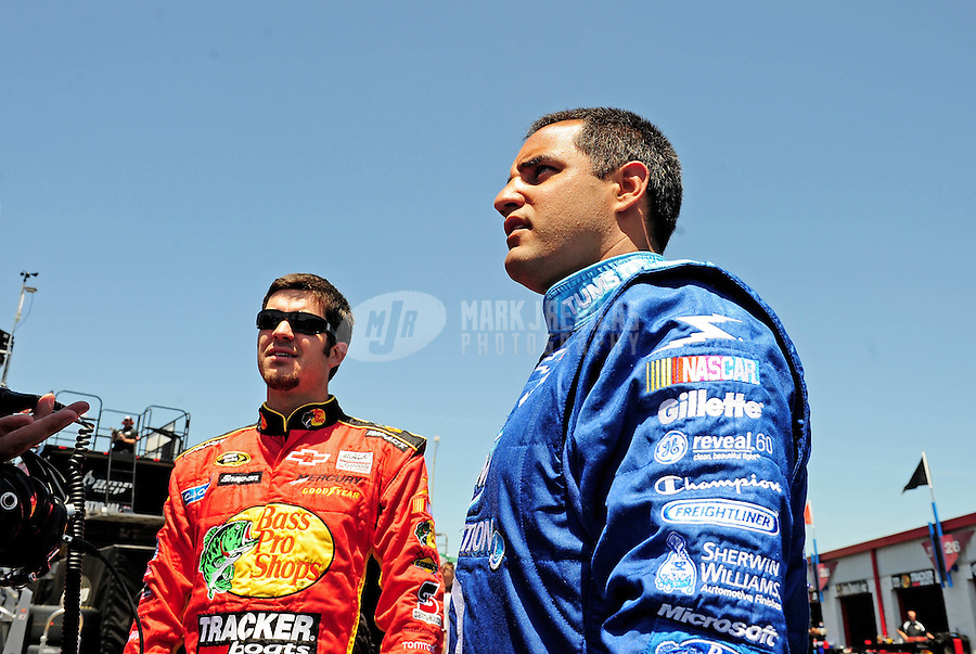 Apr 24, 2009; Talladega, AL, USA; NASCAR Sprint Cup Series driver Juan Pablo Montoya (right) with Martin Truex Jr during practice for the Aarons 499 at Talladega Superspeedway. Mandatory Credit: Mark J. Rebilas-
