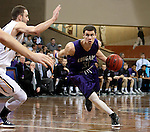 SIOUX FALLS, SD - FEBRUARY 27:  Mack Johnson #3 from the University of Sioux Falls drives past Alex Richter #31 from Augustana during their NSIC Tournament game Saturday night at the Pentagon in Sioux Falls. (Photo by Dave Eggen/Inertia)