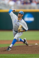 UCLA Bruin pitcher Adam Plutko (9) delivers a pitch to the plate during Game 4 of the 2013 Men's College World Series against the LSU Tigers on June 16, 2013 at TD Ameritrade Park in Omaha, Nebraska. UCLA defeated LSU 2-1. (Andrew Woolley/Four Seam Images)