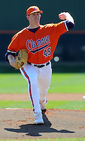 Ryan Hinson started the opening game of the 2008 season between the Mercer Bears and Clemson Tigers at Doug Kingsmore Stadium in Clemson, S.C. Photo by:  Tom Priddy/Four Seam Images
