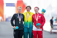 Commonwealth Games - Road Cycling: Time Trial - Currumbin Beachfront, Gold Coast, Australia - Gold - Australia's Katrin Garfoot, Silver - New Zealand's Linda Villumsen, Bronze - England's Hayley Simmonds, Women's Individual Time Trial. 10 April 2018. Picture by Alex Whitehead / www.photosport.nz