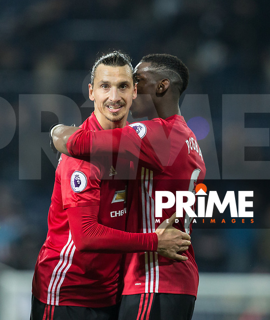 Zlatan Ibrahimovic & Paul Pogba of Manchester United embrace at full time during the EPL - Premier League match between West Bromwich Albion and Manchester United at The Hawthorns, West Bromwich, England on 17 December 2016. Photo by Andy Rowland / PRiME Media Images.
