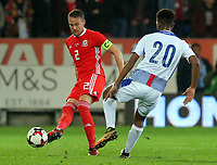 (L-R) Chris Gunter of Wales passes the ball past Ricardo Avila of Panama during the international friendly soccer match between Wales and Panama at Cardiff City Stadium, Cardiff, Wales, UK. Tuesday 14 November 2017.