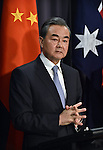 Chinese Foreign Minister Wang Yi speaks during a press conference with Australian Foreign Minister Julie Bishop at Parliament House Canberra, Tuesday Feb 7, 2017. AFP PHOTO/ MARK GRAHAM