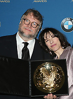 BEVERLY HILLS, CA - FEBRUARY 3: Guillermo del Toro and Sally Hawkins in the press room at the 70th Annual DGA Awards at The Beverly Hilton Hotel in Beverly Hills, California on February 3, 2018. <br /> CAP/MPI/FS<br /> &copy;FS/MPI/Capital Pictures