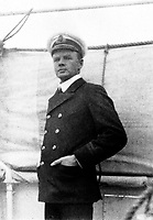 BNPS.co.uk (01202 558833)<br /> Pic: HAldridge/BNPS<br /> <br /> Unsmiling - Charles Lightoller on the RMS Majestic in August 1912 - just 4 months after he survived the Titanic sinking.<br /> <br /> A remarkable photo album taken by a White Star line officer Philip Agathos Bell that contains haunting before-and-after images of the most senior officer to survive the Titanic disaster has come to light.<br /> <br /> The contrasting snaps of Second Officer Charles Lightoller show him stood proudly and confidently in his White Star Line uniform in and then one of him looming gaunt and drawn from his recent ordeal.<br /> <br /> Another incredible image shows the football team for While Star Line.