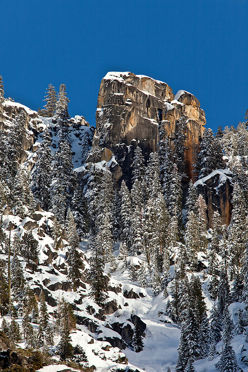 The granite towers and spires above Yosemite Valley offer a different aspect of Yosemite NP, California